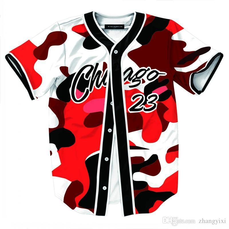 الجملة الحرة الشحن أزياء الرجال البيسبول جيرسي المتناثرة نمط تي شيرت 3D الطباعة البيسبول قصيرة الأكمام الصيف تي شيرت