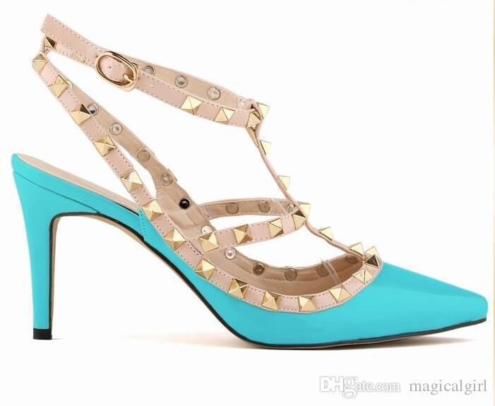 Neue 2018 Beliebte Frauen Patchwork Multicolor Rivet Sandale Weiblichen Spitzschuh T-strap High Heel Pump Sandale Hochzeit Schuh