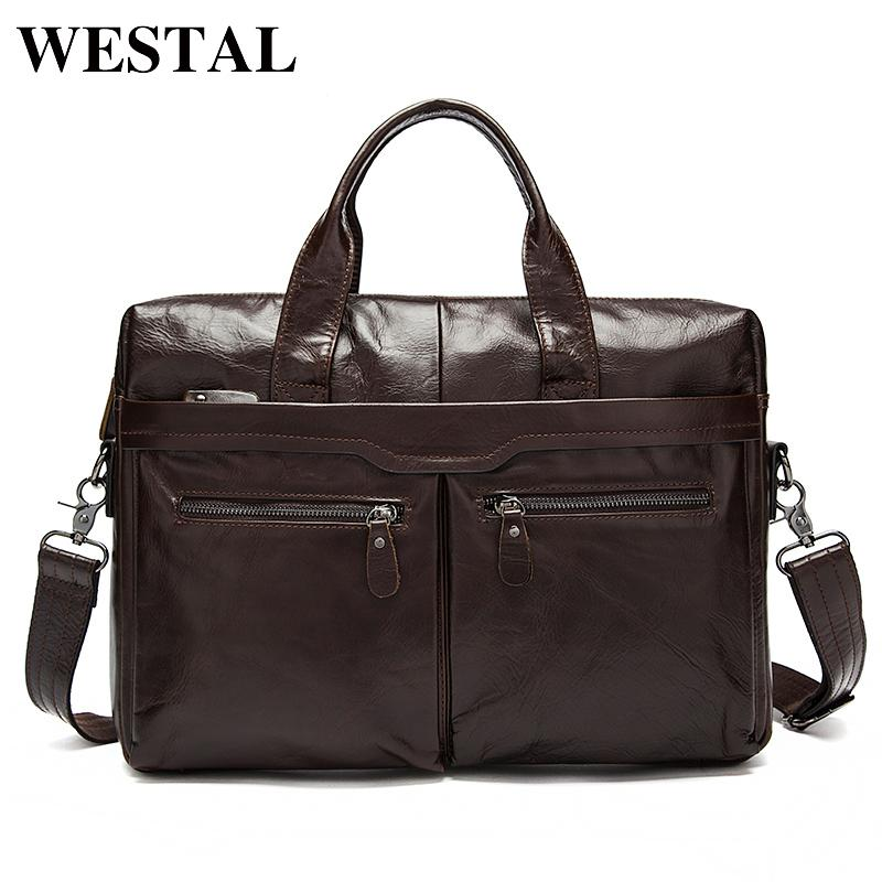 a97cb619a4 WESTAL Men Bag Genuine Leather Bag Men Crossbody Bags Messenger Men S  Travel Shoulder Bags Tote Laptop Briefcases Handbags 9005 Cute Purses  Crossbody From ...