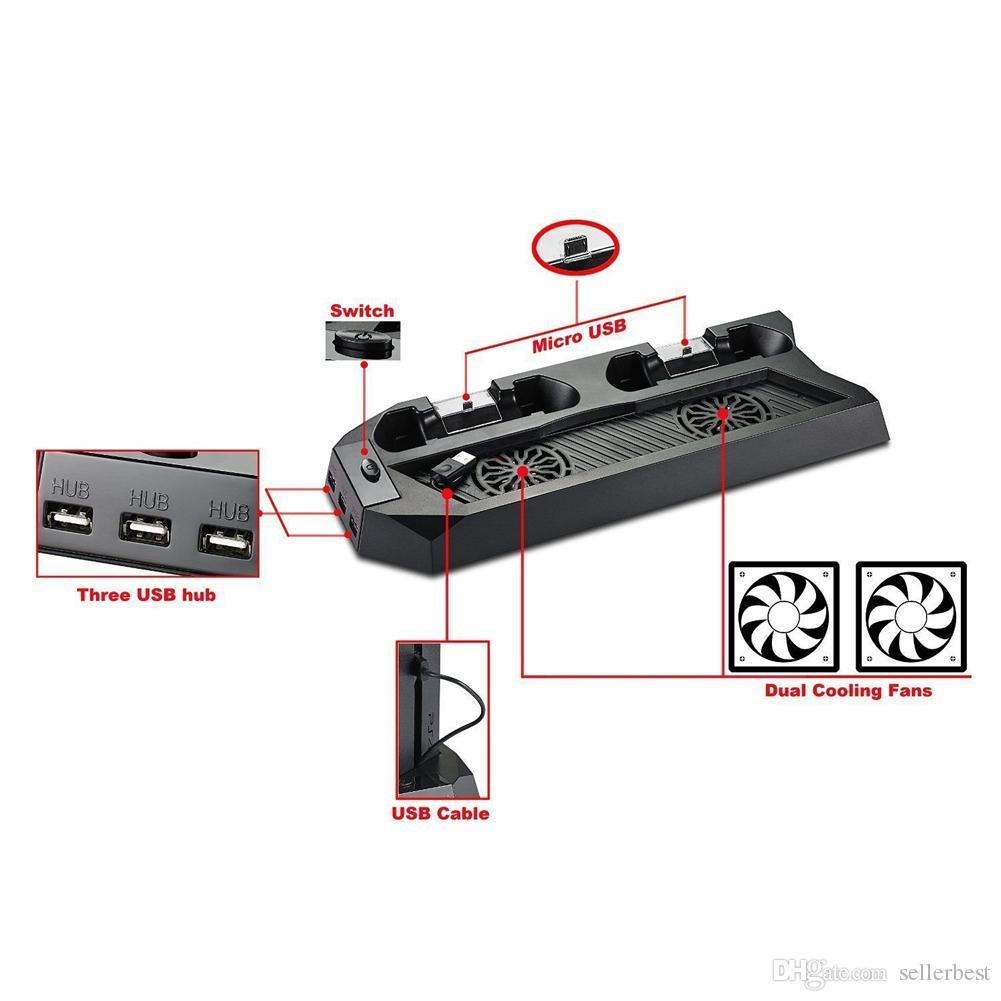 Sıcak Satış Dikey PlayStation 4 Konsol Için Soğutma Fanı Standı Soğutucu Ile Şarj PS4 Soğutucu Çift Şarj Portu Ile USB HUB