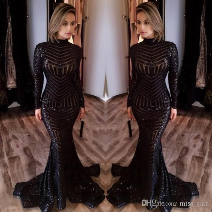 85f8bcedce8cf Bling Michael Costello High Neck Prom Dresses Long Sleeve Mermaid Sexy  Celebrity Gowns Pageant Gowns Black Sequined Evening Dress