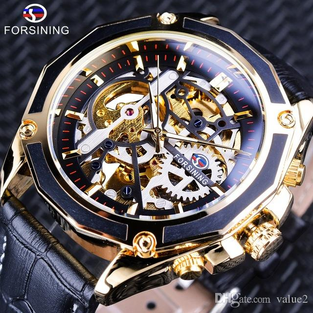 a18f84b98 Forsining Luxury Mechanical Watch Mens Sport Gold Fashion Skeleton  Automatic Transparent Steampunk Gear Movement Design Brand Watch For Mens  Buy Watches ...