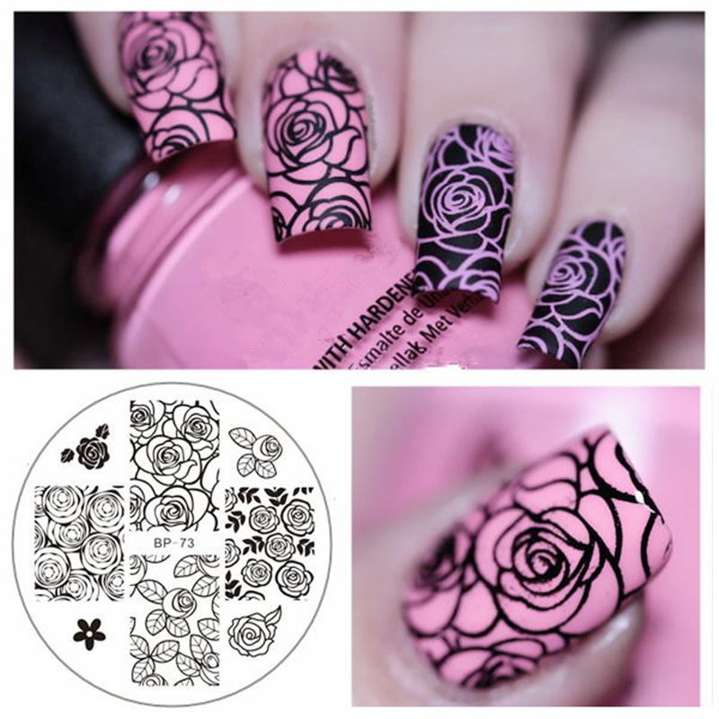 Rose Flower Nail Art Stamping Template Image Plate BORN PRETTY BP-73 ...
