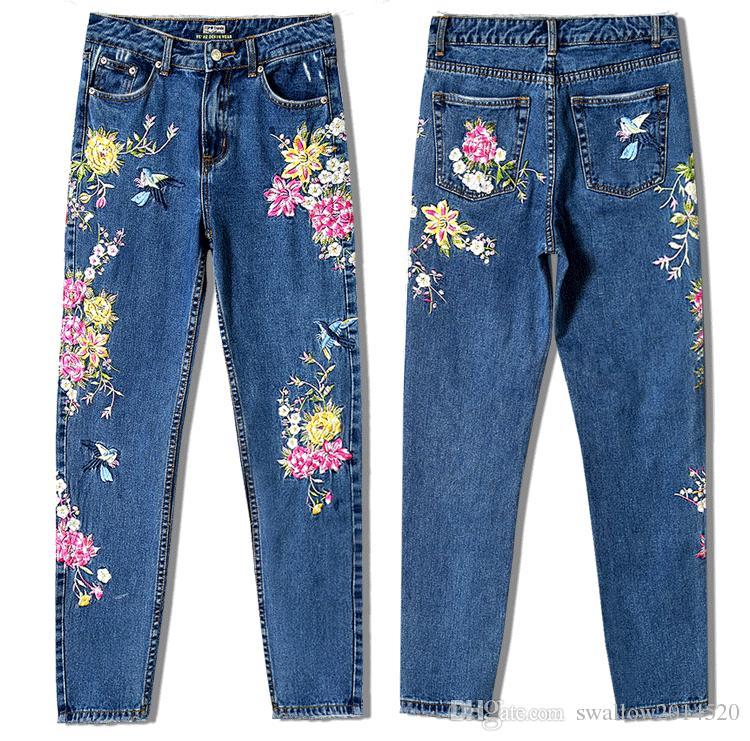 Compre Nueva Moda Ropa Mujeres Pantalones De Mezclilla Pantalones Vaqueros Rectos Largos 3d Bordado De Flores Pantalones Vaqueros De Las Señoras De