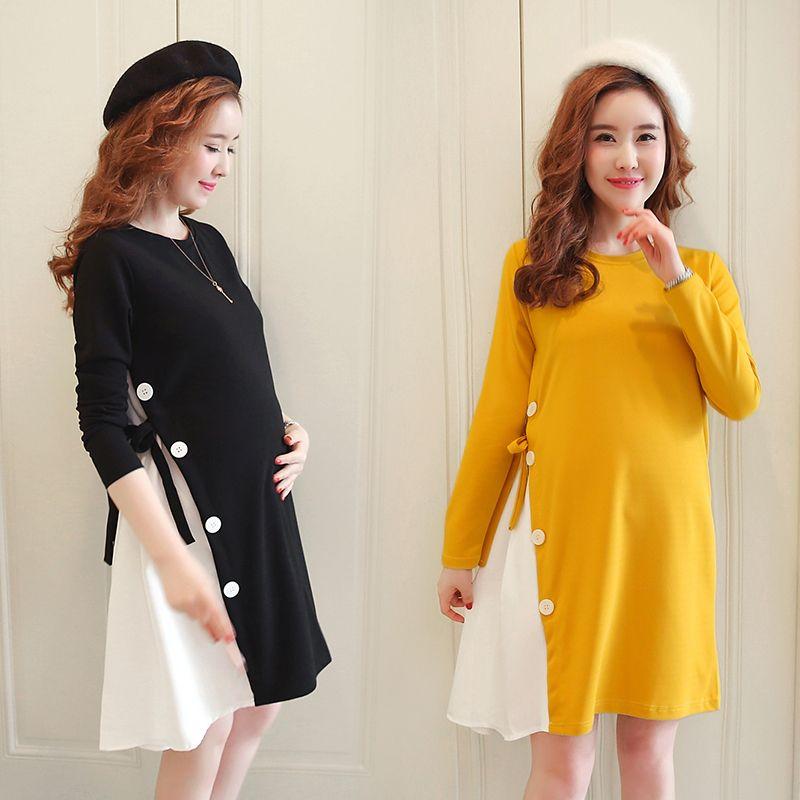 9c77116e52b 2019 Maternity Wear Winter Fashion Maternity Dress Irregular Patchwork Dress  From Beasy