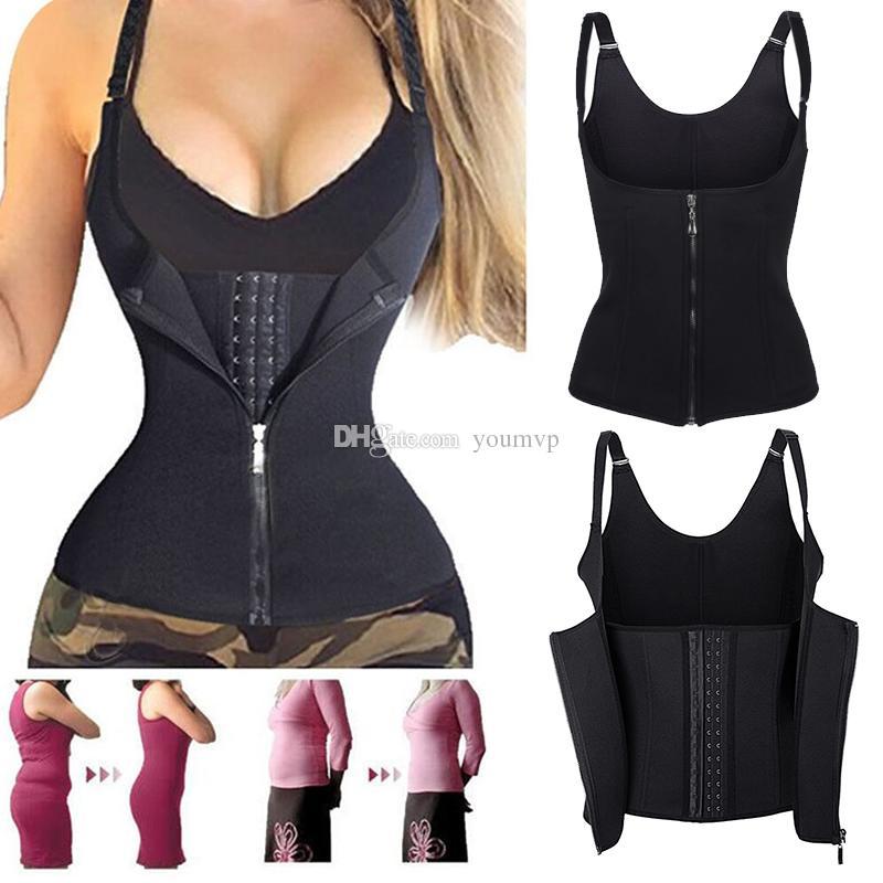 ec5e44f274471 2019 Adjustable Shoulder Strap Waist Support Vest Corset Women Zipper Body  Shaper Waist Cincher Weight Loss Slimming Shapewear J1104 From Youmvp