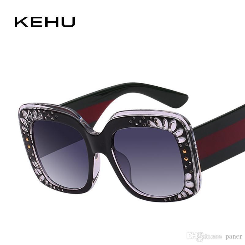 80d5d9f682 KEHU Sexiness Fashion Rivets Frame Women Sunglasses Brand Design New ...