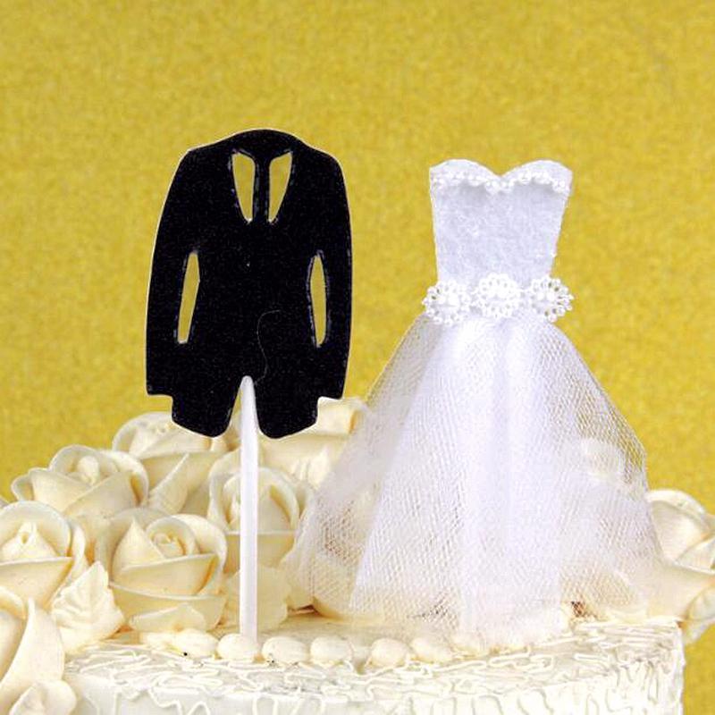 compre / lote ropa de novia vestido de novia novio cupcake topper