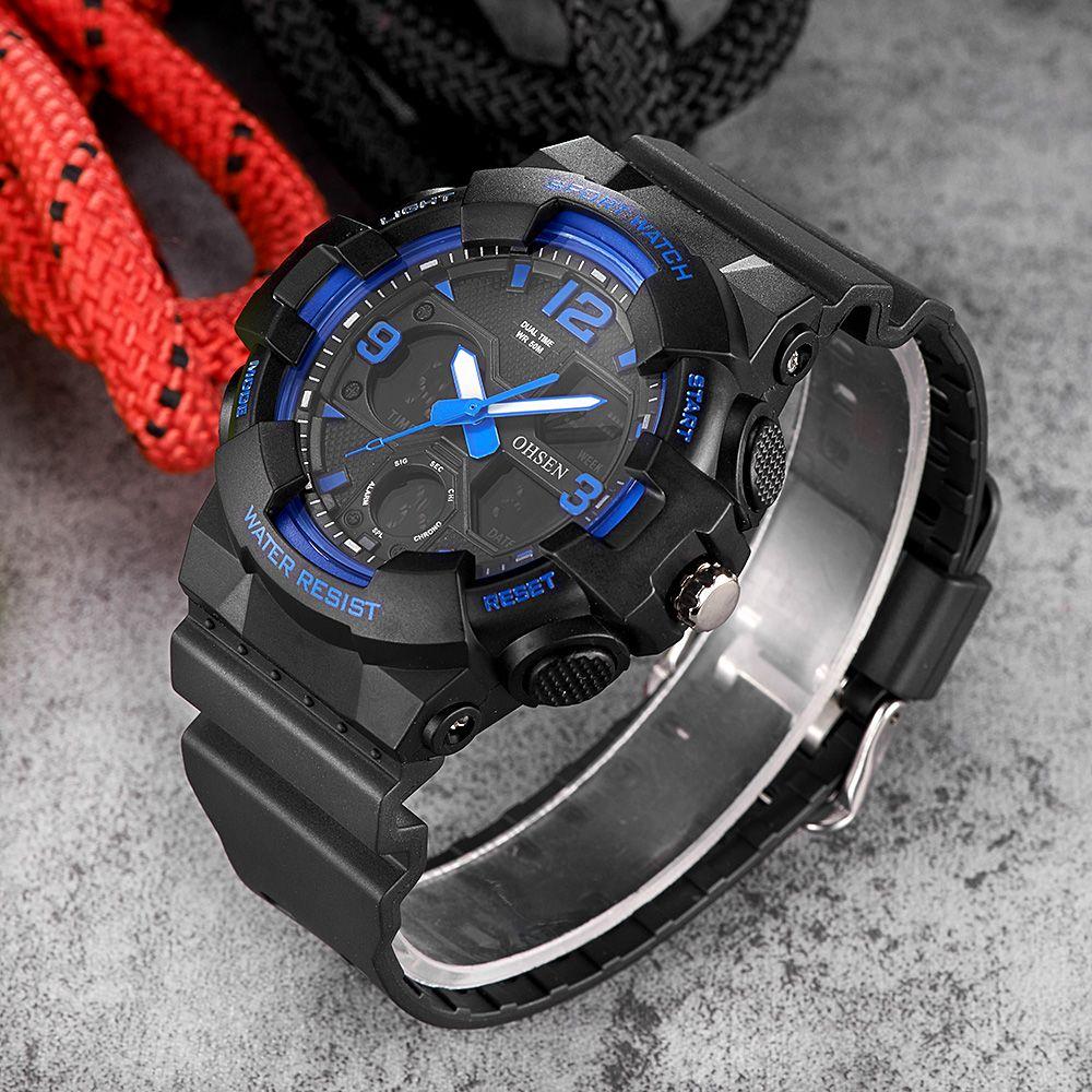 Fashion OHSEN Quartz Digital Watch Men Dual Time Swim Sport Watch Male Relogio Rubber Band LED Military Wristwatch Orologio Uomo