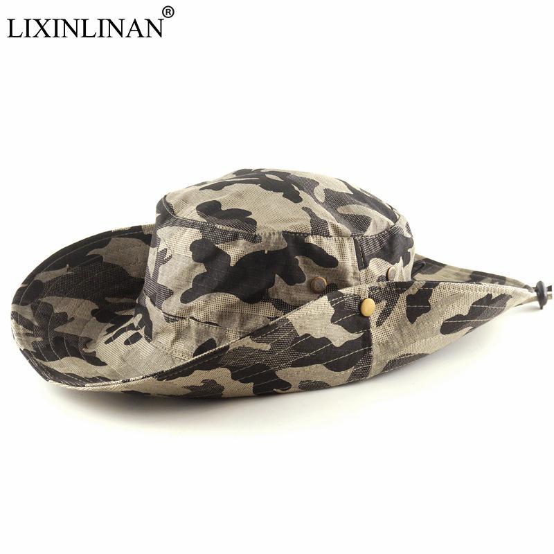 Compre LIXINLINAN Camuflaje Caza Escalada Gorra De Pesca Fanáticos Del Ejército  Sombrero De Ala Redonda Táctico Sombrero De Ben Nepal Sombrero De Sol De ... 6c5cc9be38f