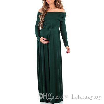 Llegan nuevos Vestidos de maternidad Maxi 2018 Apoyos de fotografía de maternidad Vestidos de gasa Fuera de los hombros Vestido largo para embarazadas Embarazo de fotos