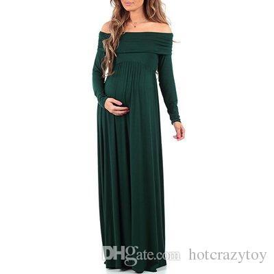 nuovo arriva Maternity Maxi Dresses 2018 Maternity Photography Puntelli Chiffon Vestidos Off spalle Maxi Pregnant Dress Gravidanza Servizio fotografico