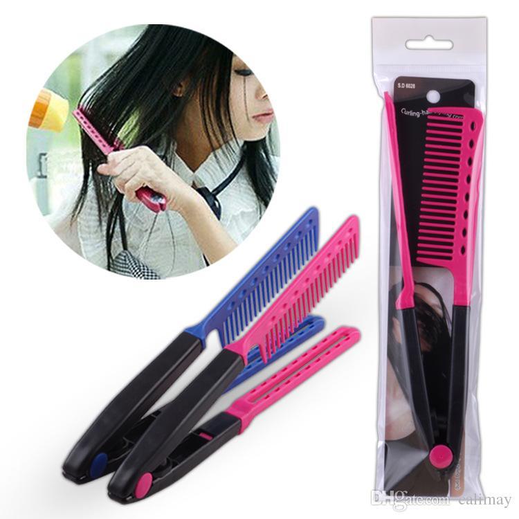 V Shape Folding Hairbrush Hair Straightener Comb Salon Hairdresser Barber Hair Cutting Comb Hair Brush Styling Tool