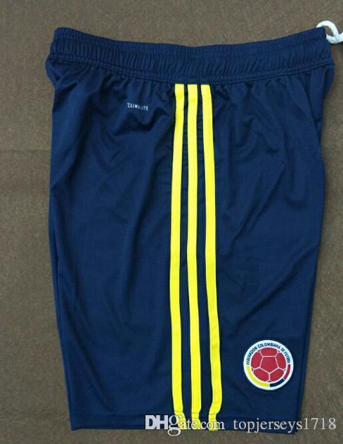 2018 Colombia World Cup Soccer Shorts Uniforms Yellow White Blue 10 JAMES 9  FALCAO 11 CUADRADO 8 AGUILAR 13 GUARIN SANCHEZ Football Shorts Soccer  Jerseys ...
