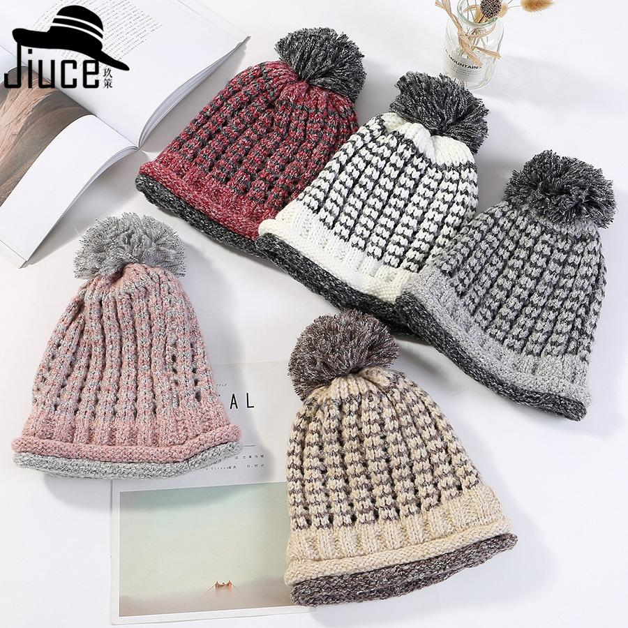 f9570d009 winter hats New double knitted wool hat female Japan s simple color  matching fashion thickening warm student cap beanies m8911