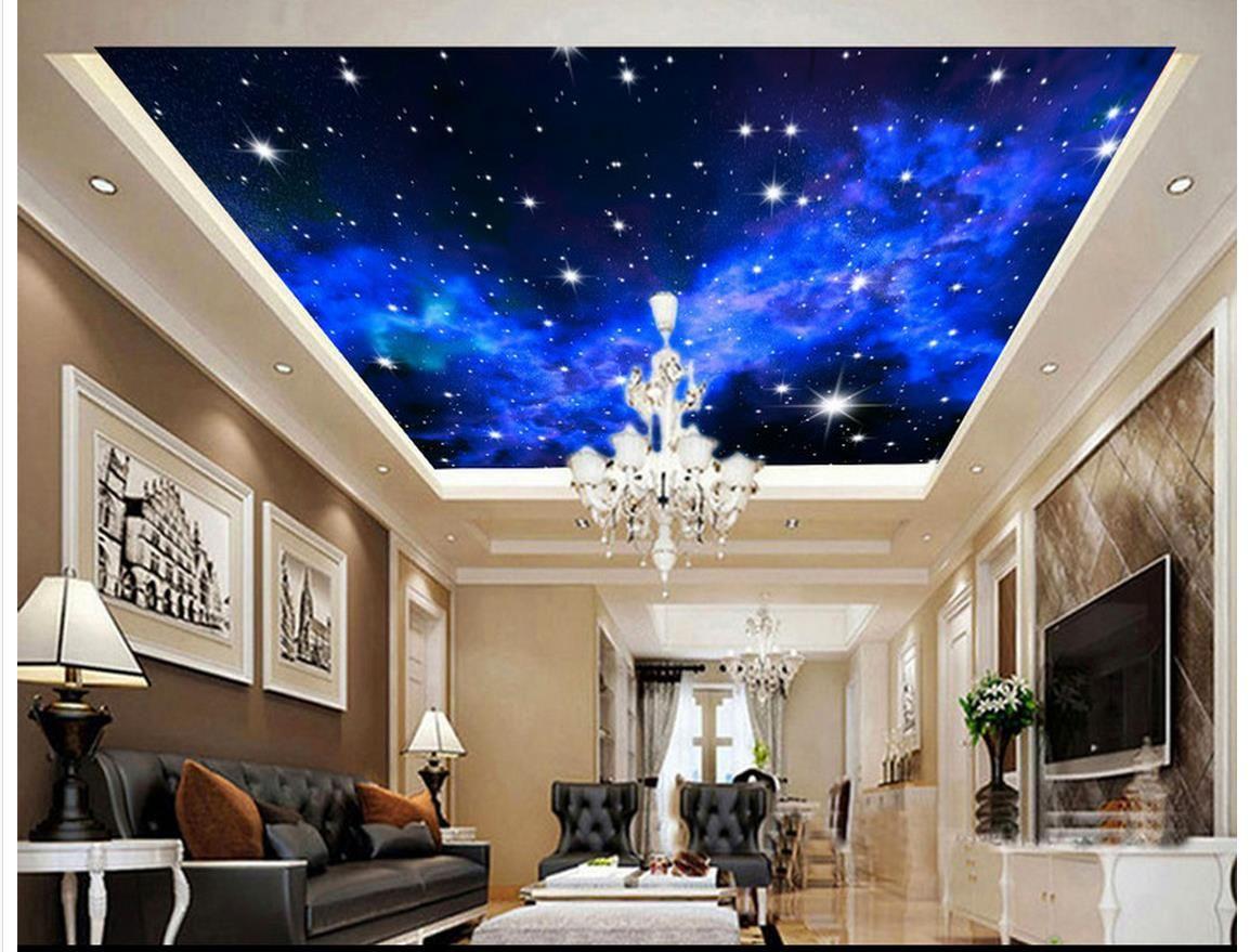 Großhandel 15D Wallpaper Benutzerdefinierte Foto Decke Wandbild Tapete  Fantasy Blau Sternenhimmel Wohnzimmer Wandpapier Zenith Wandbild Tapete