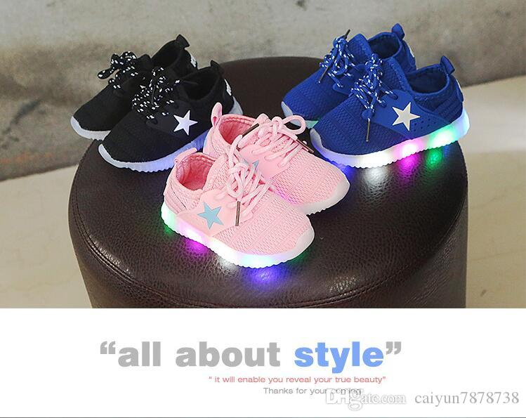 56ac2bc23bd2 Children S Light Shoes 1 3 6 Years Old Baby Toddler Soft Bottom Breathable  Baby Sports Shoes LED Light Casual Mesh Shoes Toddler Boys Leather Shoes  Boys ...