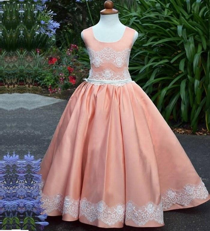 Lace Satin Flower Girl Dress Wedding Dress Vintage Long Dress Girls ...