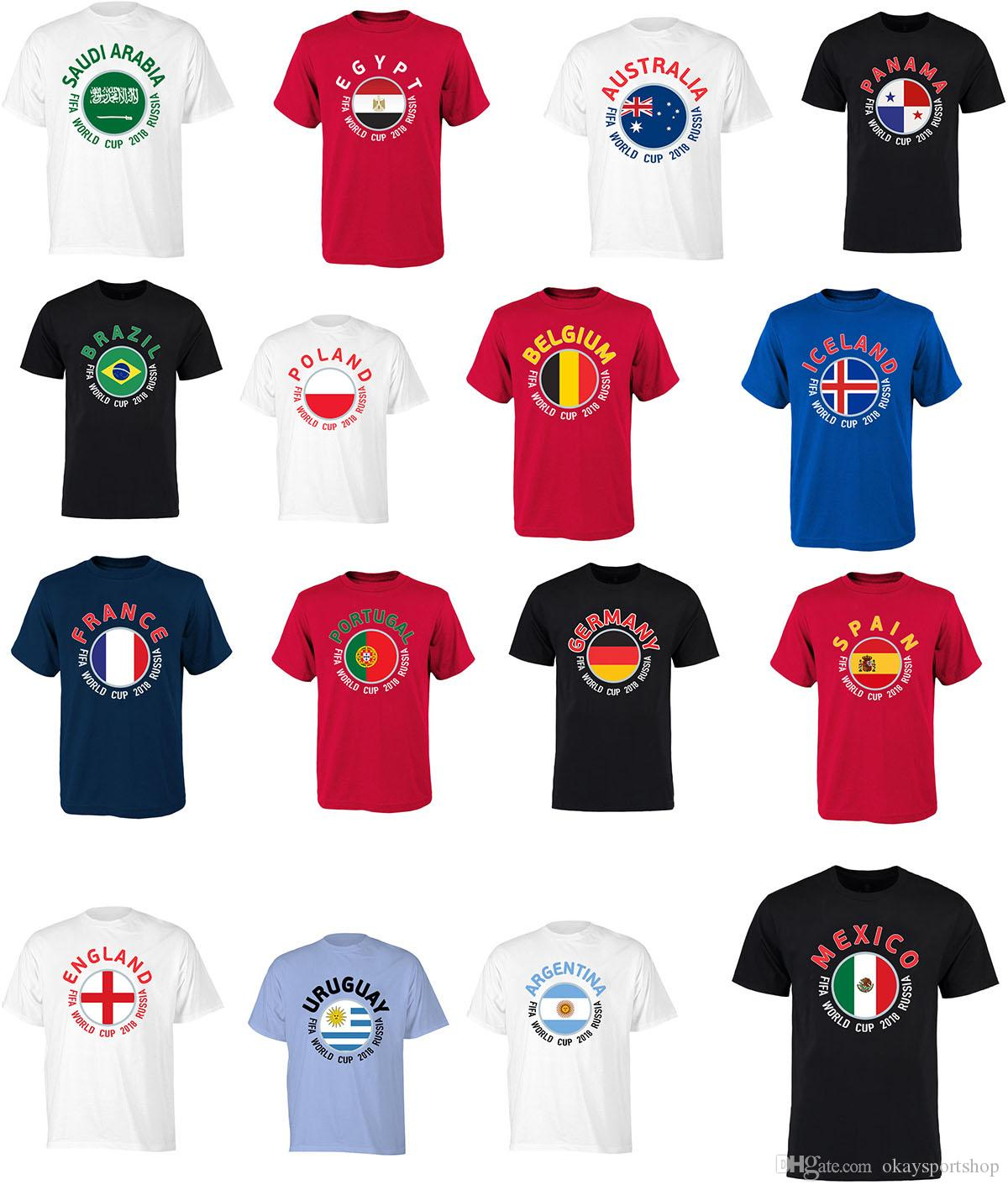 2f15b9d525c 2018 World Cup Soccer T Shirt 32 Country Team Slogan Football Fan Barzil  Spains Germany Portugal Iceland Serbia Egypt Panama Senegal T Shirt Online  T Shirts ...