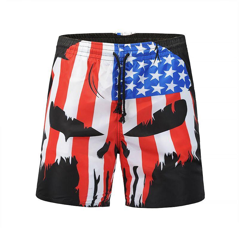 a021bf9e4fd6e Mens Slim Fit Quick Dry Short Swim Trunks with Mesh Lining 3D flag skull printing  beach pants casual fashion men's wea