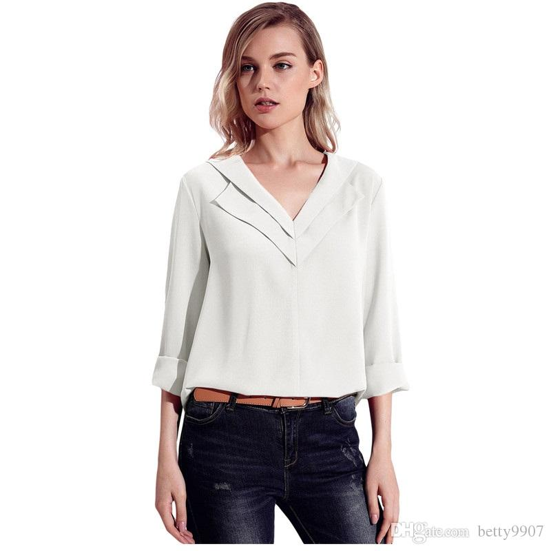 561fa741569 2019 Designer Women Blouses Shirts Office Ladie Plus Size Button Front  Autumn Long Sleeve Chiffon Lapel V Neck Roll Sleeve Tops From Betty9907