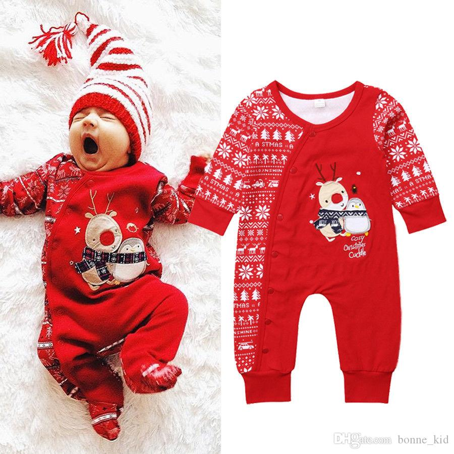 christmas baby girls boys reindeer red pajamas jumpsuit newborn baby bodysuit striped romper winter wholesale xmas baby clothes pajamas for kids girls