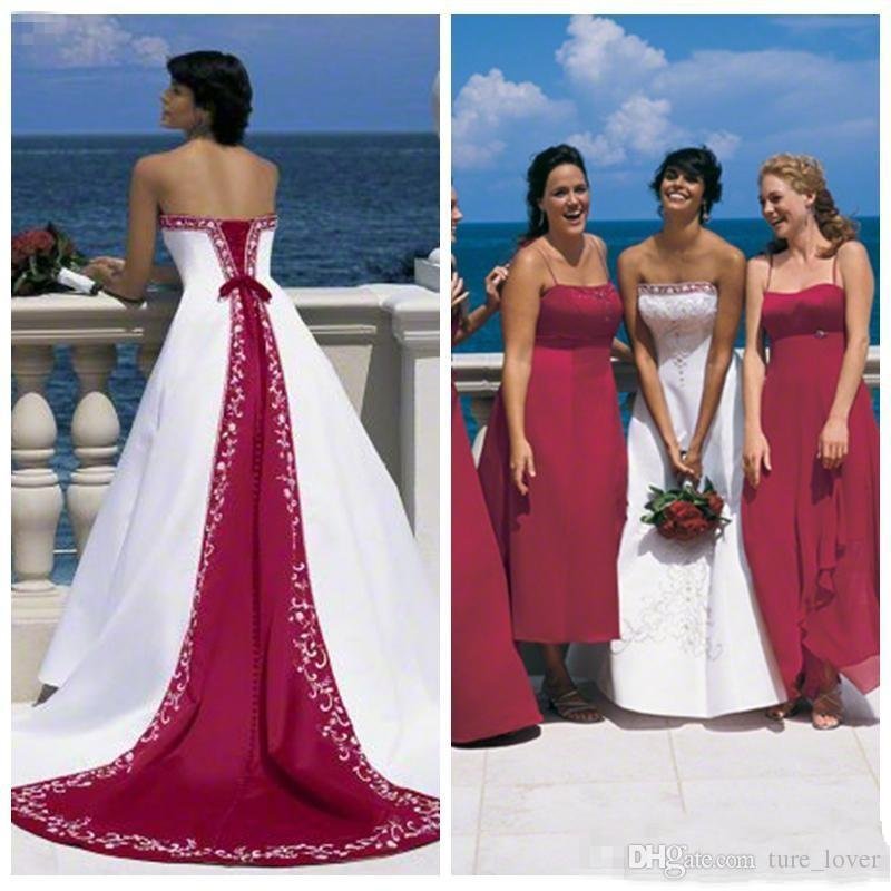 Discount Excellent Quality Elegant Dark Red And White 2018 Wedding