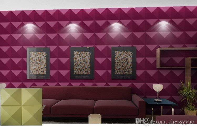 Castle home ktv hotel cafe decoration style Waterproof Four diamonds Shape Designed Light-weight 3D PVC Wall/Ceilling Panels