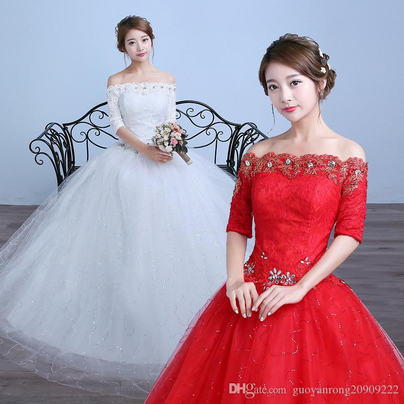 Half Sleeves Boat Wedding Dresses Cheap Red White Bride Frocks Gowns ...