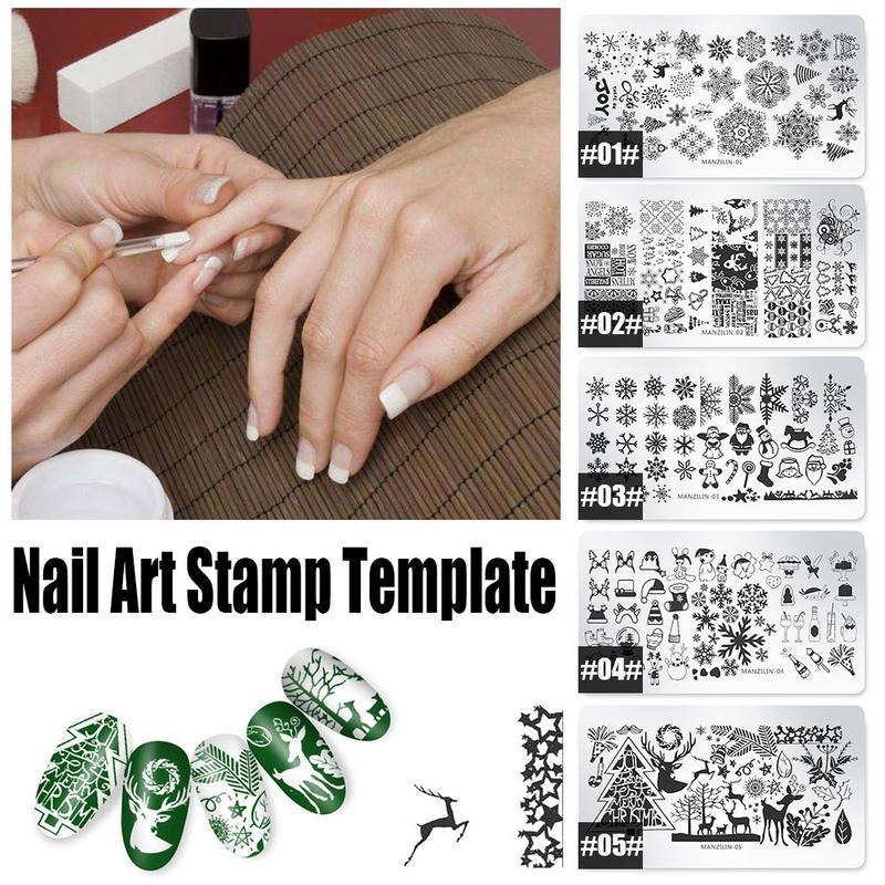 Christmas Nail Art Stamping Template Image Plate Snowflakes Pattern