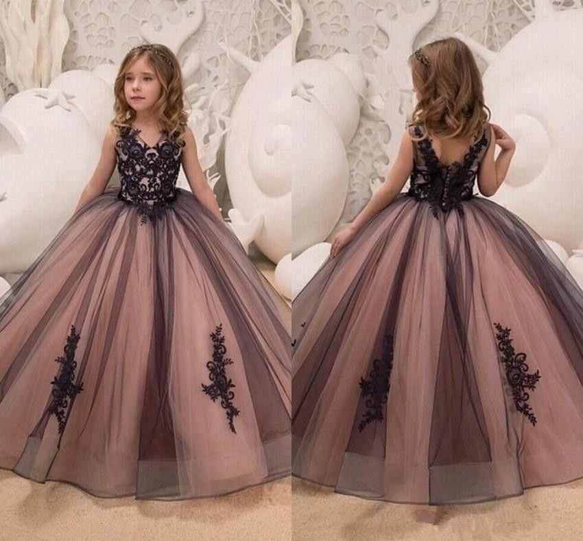Black And Pink Gothic Flower Girl Dresses 2019 New Designer Ball