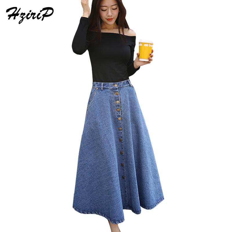 ef27204f077 HziriP Women s Ankle-Length Denim Skirt Casual Wide Flare Lady s Large Size High  Waist Single-Breasted Female Loose Jeans Female Skirts Cheap Skirts HziriP  ...