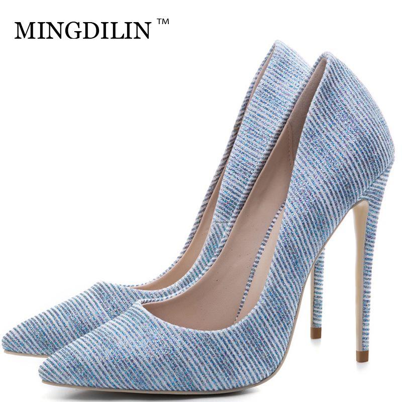 7cf6de5edde7e1 Acheter MINGDILIN Sexy Femmes Chaussures À Talons Hauts En Argent De ...