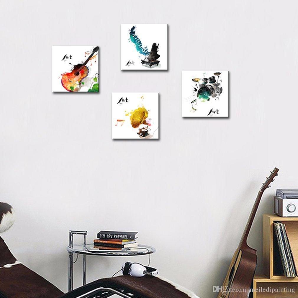 Canvas Painting Guitar Piano phonograph and Drum Set Four Kinds of Classical Music Instruments Print Home Decor Wooden Framed Gifts