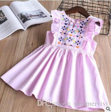 c5d42a52e Children Lace Hollow Dress Spring Girs Floral Love Heart Embroidered ...