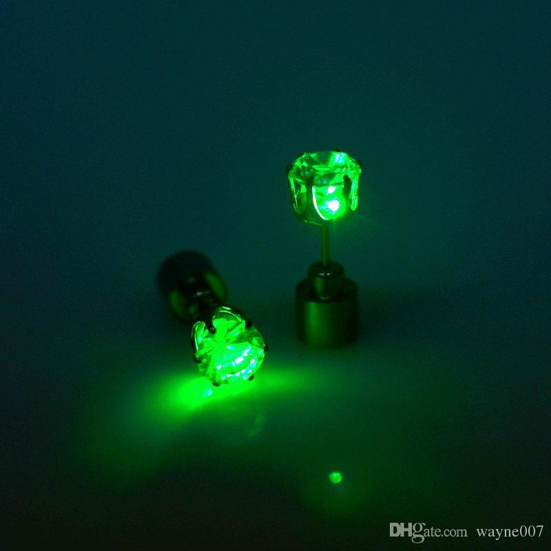 Christmas party light up CZ crystal earrings men women kids dance club LED Luminous Stud Flash Earrings festive event props gift via DHL