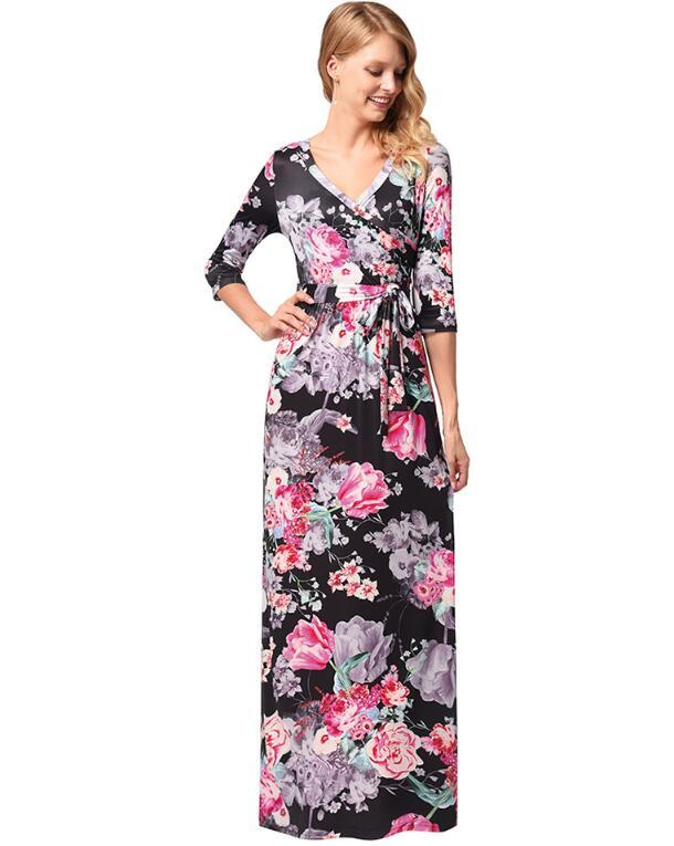 Wholesale women's new sleeve printing belt large swing skirt hose sell in Europe and the United States