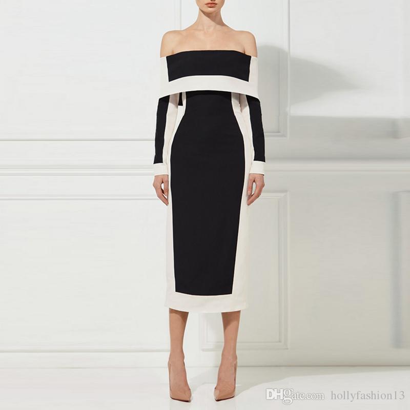 66ca767f100fc 2018 Euramerican Spring New Fashion Black And White Slash Neck Sexy Elegant  Lady Slim Fit Medium Style High End Formal Dress Petite Dress Petite  Cocktail ...
