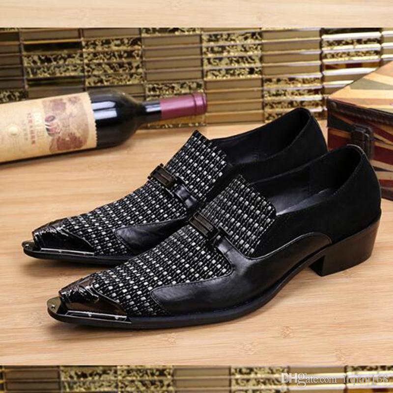 Zapatos de cuero de los hombres Negro dedo del pie puntiagudo Patchwork de oro Zapatos de vestir de moda Formal Oxford Hombres Zapatos casuales de boda