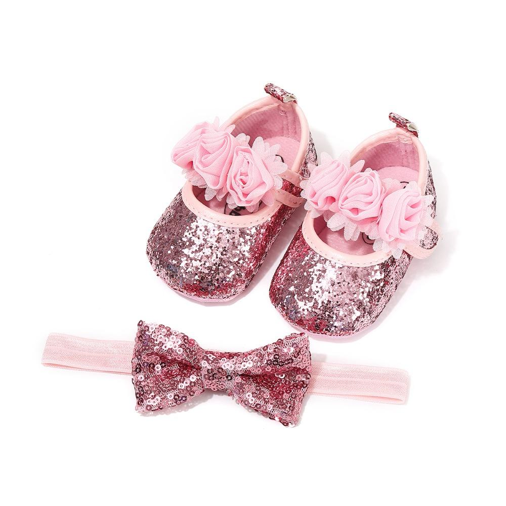 4e6f5936eb2102 2019 Infant Baby Shoes For Girl Bling Flower Leather Princess Shoes Soft  Sole Toddlers Prewalkers + Butterfly Knot Headband Wholesale From  Newyearable