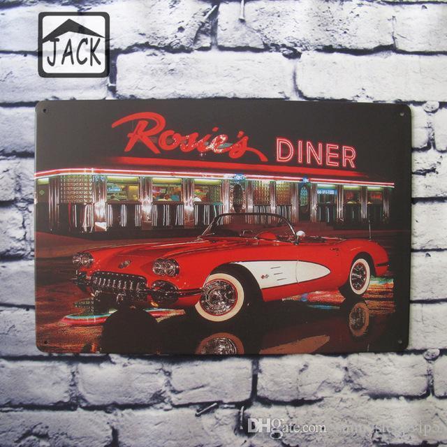 Compre Red Car Restaurant Vintage Plaque Tienda Bar Club Garage