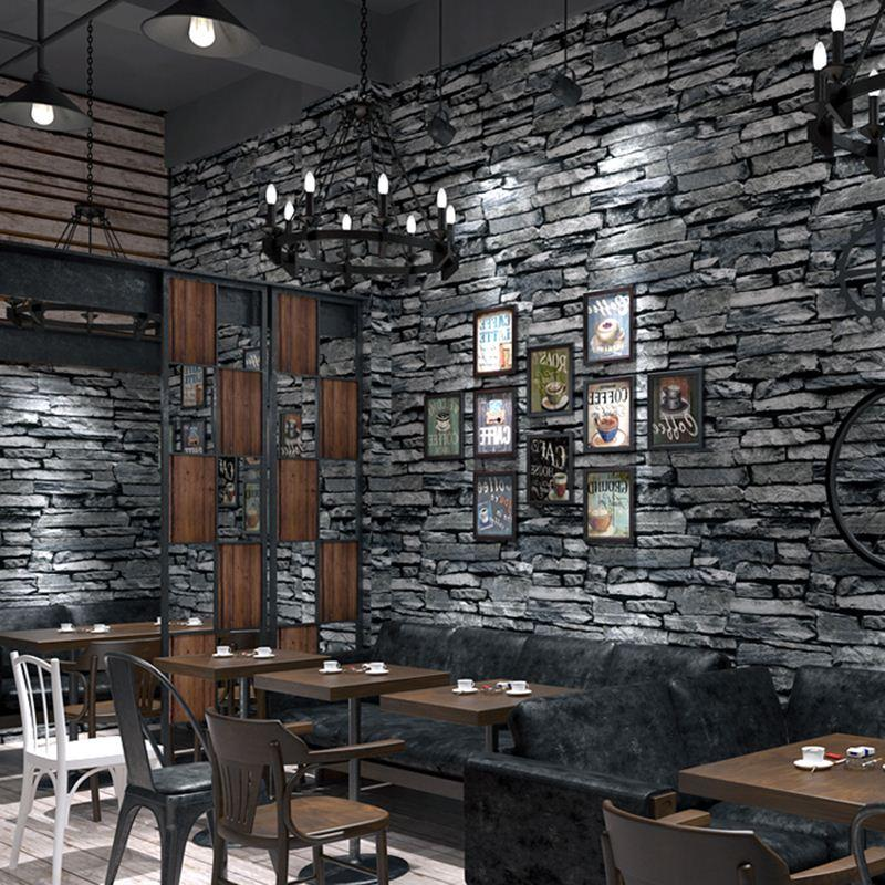Interior Stone Wall Kitchen: PVC Wallpaper 3D Embossed Brick Wallpaper Living Room Kitchen Hotel Restaurant Stone Wall Paper
