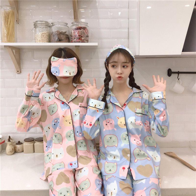 72190b634c4bf2 Acheter Femmes Cute Sweet Cartoon Sleepwear Korean Casual Lady Pyjamas  Ensembles Doux Vêtement De Nuit Féminin 2018 Mode Hiver Féminin Homewear De  $29.54 Du ...
