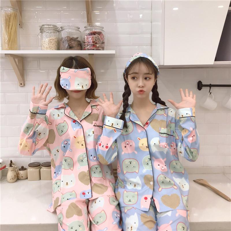 7c2a677f182e 2019 Women Cute Sweet Cartoon Sleepwear Korean Casual Lady Pajamas Sets  Soft Women S Sleepwear 2018 Fashion Winter Female Homewear From Zijinflo