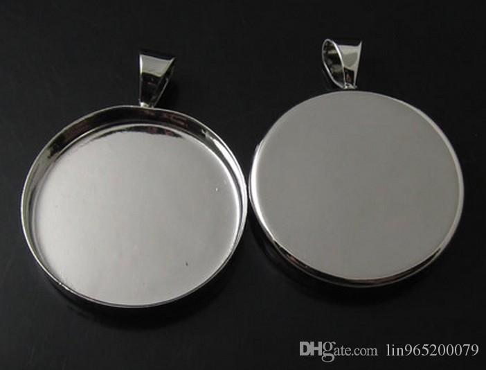 High quality silver plated Pendant 16mm Trays,Blank Pendant Bases Cameo Cabochon,Bezel Pendant Settings for Glass or Stickers