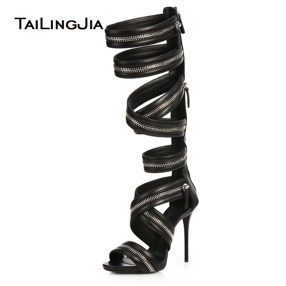 873204a7960d Women Black Knee High Zipper Gladiator Sandals Sexy Strappy Heels Evening  Dress Shoes Ladies High Heel Summer Boots Big Size Mens Dress Boots Green  Boots ...