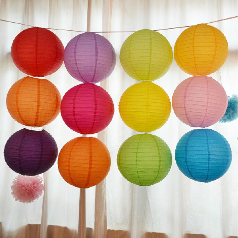 """6"""" 8"""" 10""""12"""" 14"""" 16"""" White Pink Purple Light Blue Chinese Paper Lanterns Round Paper Ball Lamps Wed"""
