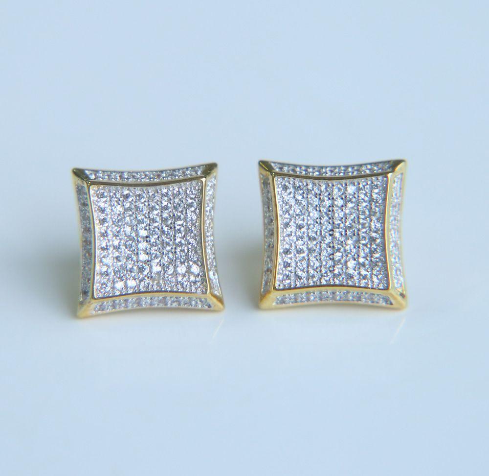 8efd73e6458f4 Hip Hop Square Earring Studs Golden Color Screwback Earrings Micro Inlay  AAA Cubic Zirconia Cute Earrings For Fashion Men & Women
