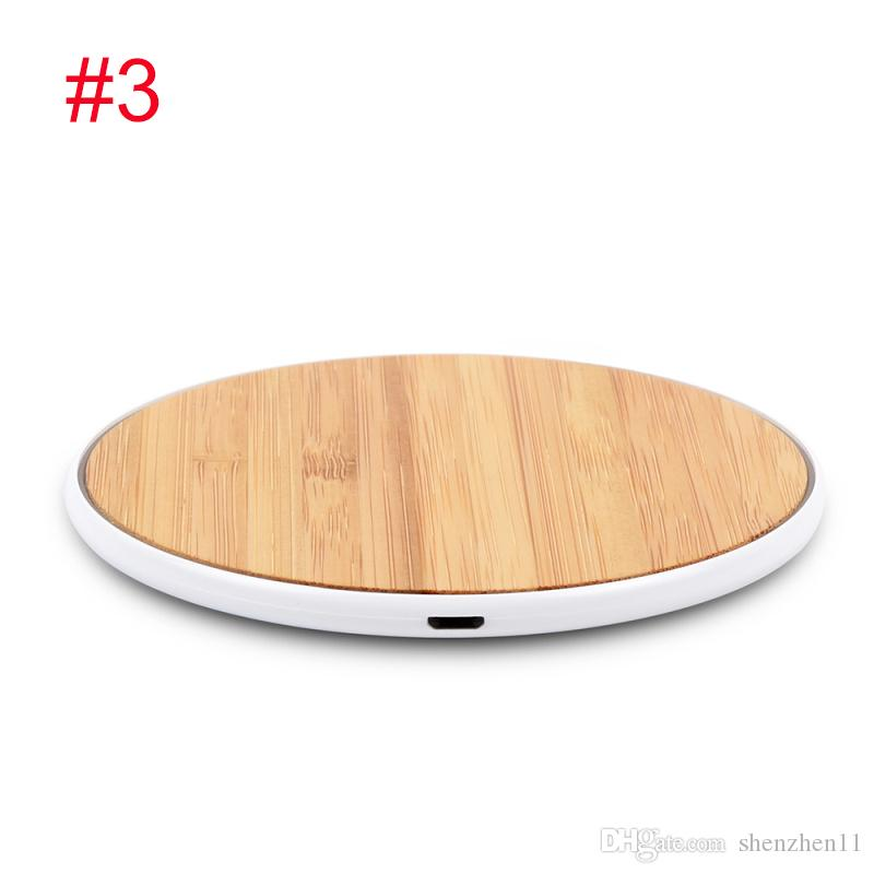Wood Wireless Chargers For All Android Device - Black White iPhone Sumsung Qi Fast Walnut Bamboo PC Round Shape Cell Phone Pad OTH862
