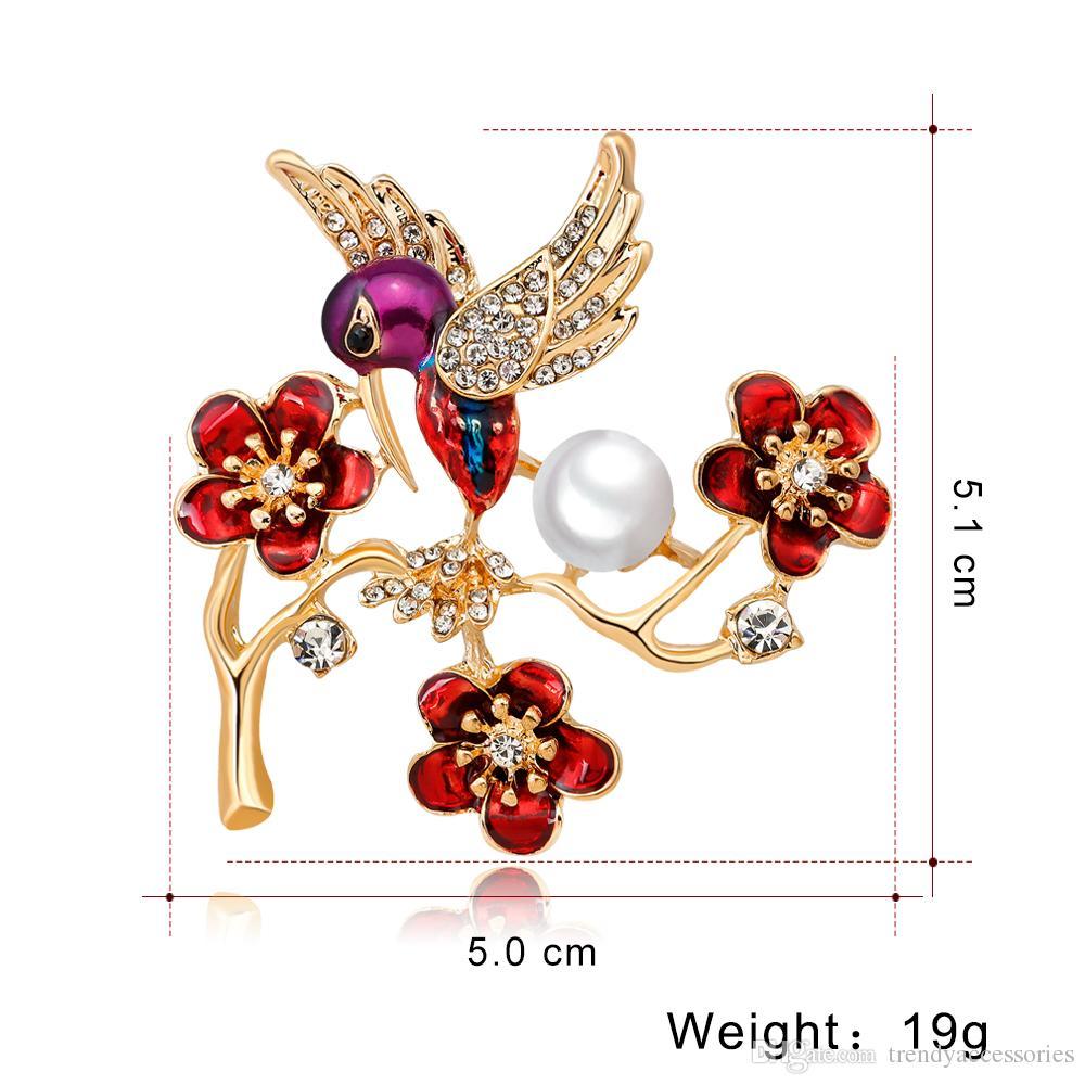Pretty Wings Hummingbird Brooch Pin with Flower Cluster Austria Crystal Bird Brooch Pin